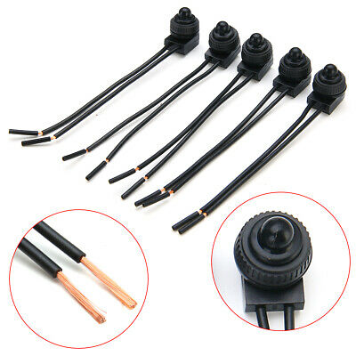 "5Pcs 12V Waterproof Push-Button On-Off Switch with 4"" Leads Motorcycle Car IP67"
