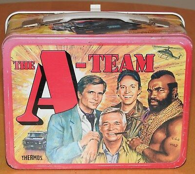 Vintage 1983 Metal The A-Team Lunchbox No Thermos Mr. T George Peppard Lunch Box