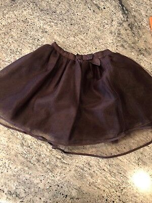 Janie And Jack Girls Fall Brown Tulle Skirt Size 5T  Bow Halloween