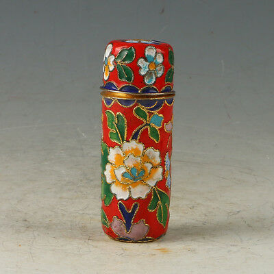 Chinese Cloisonne Handmade Carved  Flower Toothpick Box GL658