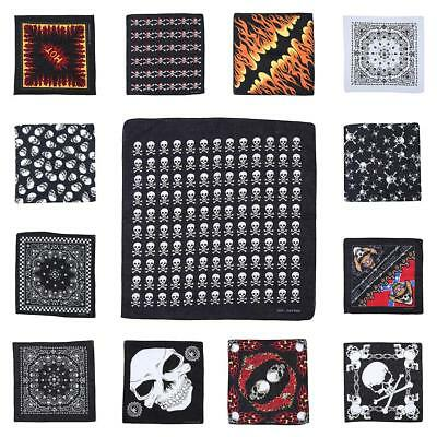 Square Skull Pattern Cotton Kerchief Polyester Bandana Neck Scarf Headwear New