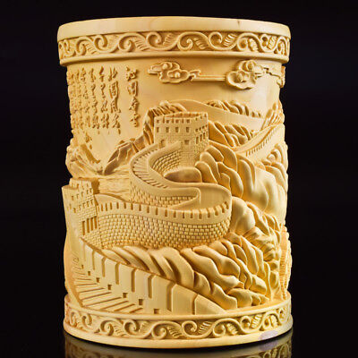 Chinese Boxwood Hand Carved The Great Wall Exquisite Brush Pot RB009+b