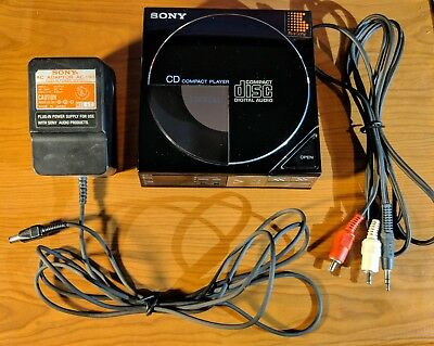 Vintage Sony D-5 Compact CD Player WORKS w/ Original AC Adapter + Sony RCA Cable