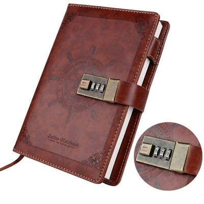 AU Retro Note Book Brown Leather Journal Diary with Password Code Lock B6 NEW
