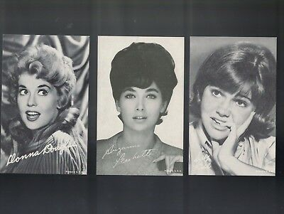 Lot Of 3 Exhibit Cards With Sally Field, Donna Douglas ( Ellie Mae) , Susan Ples