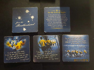 """complete set of 5 TOOHEYS """"FOR THE LOVE OF RUGBY"""" collectable COASTERS B"""