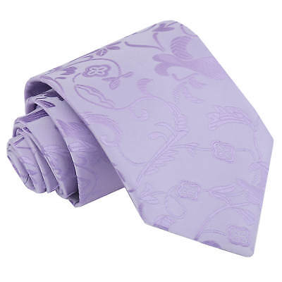 DQT Woven Floral Lilac Formal Wedding Mens Classic Tie
