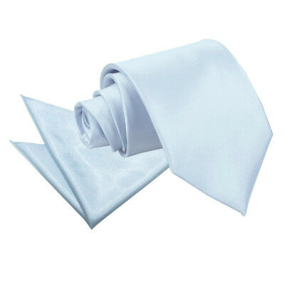 DQT Satin Plain Solid Baby Blue Mens Classic Tie & Hanky Wedding Set