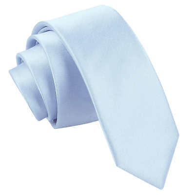 DQT Satin Plain Solid Baby Blue Formal Wedding Mens Skinny Tie