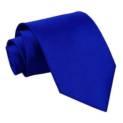 DQT Satin Plain Solid Royal Blue Formal Wedding Mens Classic Tie