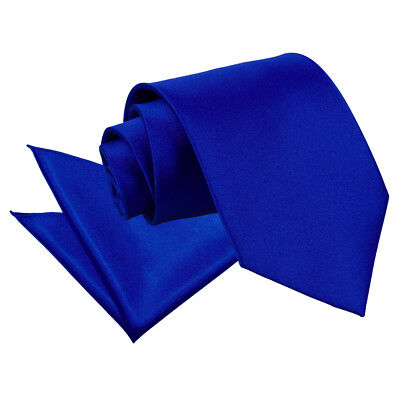DQT Satin Plain Solid Royal Blue Mens Classic Tie & Hanky Wedding Set