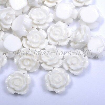 20pcs White Gorgeous Rose Flower Coral Resin Spacer Beads 12MM