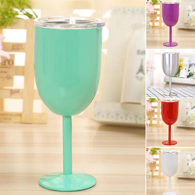 10oz Wine Cup Stainless Steel Double Wall Insulated Tumbler Goblet W/ Lid Cover