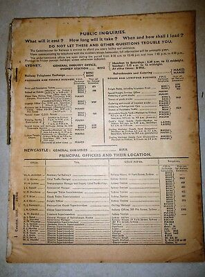 NSWGR Country Lines & Interstate Train Railway Timetable - 1957 - No front cover
