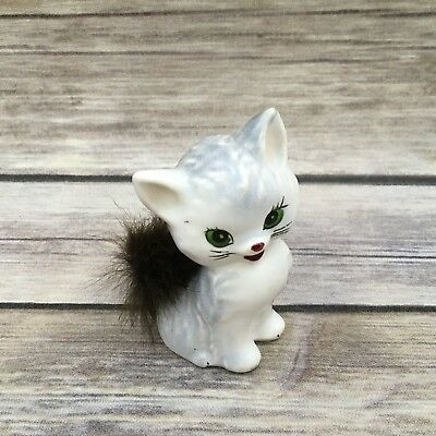 Vintage Ceramic Grey Cat Figurine Sitting with Real Fur Tail