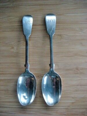 2x ANTIQUE STERLING SILVER FIDDLE BACK SPOONS EXETER James &Josiah Willams 1869
