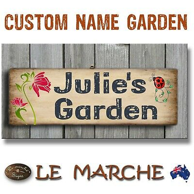 🌼 CUSTOM NAME Vintage GARDEN Wooden Rustic Plaque / Sign (FREE POST) 🌼