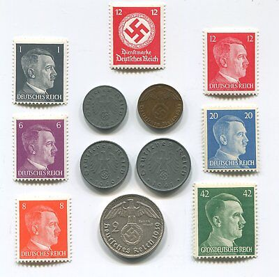 *ULTRA RARE* 4 WW2 Coin & Stamps 2 RM Marks Reichsmark Silver German Lot