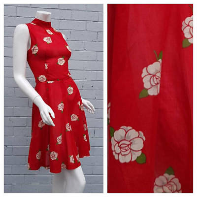 Vintage 1990s Red Cotton Camellia Floral Print High Neck Fit & Flare Dress Small