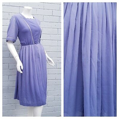 Vintage 1960s Blue Ombre Scallop Embroidered Braided Detail Pleat Dress Large