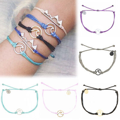1PC Vintage Women Woven Braided Wave Bracelet Adjustable Wristband Bangles