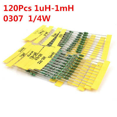 120Pcs 1/4W Inductor Assortment 0307 0.25W Color Ring Inductors Kit Set 1UH-1MH