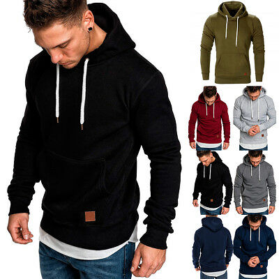 Mens Winter Slim Hoodie Warm Hoody Hooded Sweatshirt Coat Jacket Outwear Sweater