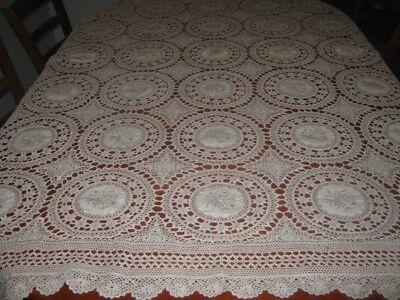 Vintage Embroidered/crocheted Lace Tablecloth ~ Cotton ~ Pale Fawn ~ Oblong