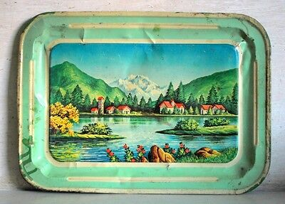 Vintage Old Indian Collectible Natural Scene Print Litho Tin Serving Tray