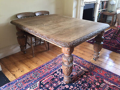 jacobean influence victorian carved oak dining table