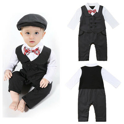 US Seller Newborn Baby Boys Tuxedo Formal Romper Jumpsuits Bodysuits Playsuits