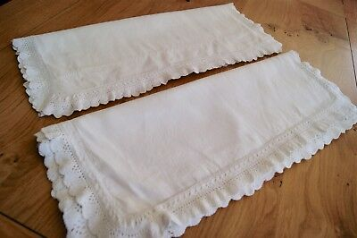 PAIR of ANTIQUE/VINTAGE WHITE IRISH LINEN PILLOWCASES Knitted Lace #P44