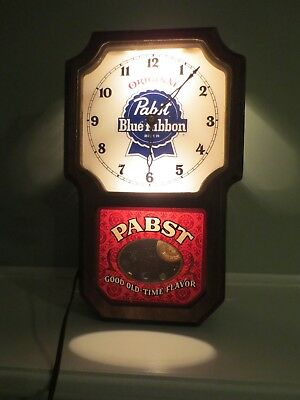 Vintage Pabst Blue Ribbon Beer Lighted Sign/Clock, PBR Breweriana