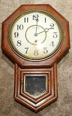 Antique Working INGRAHAM Oak Octagon Drop School House Regulator Wall Clock