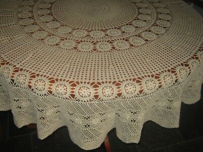 Vintage Crocheted Lace Tablecloth ~ Cotton ~ Beige/fawn ~ Round
