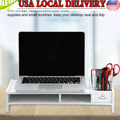 Computer Monitor Stand Desk Table Shelf Desktop Laptop Organizer Storage Rack