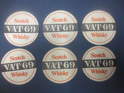 6 x  VAT 69 SCOTCH WHISKY Coasters 1970,s  Australian  Issue Round