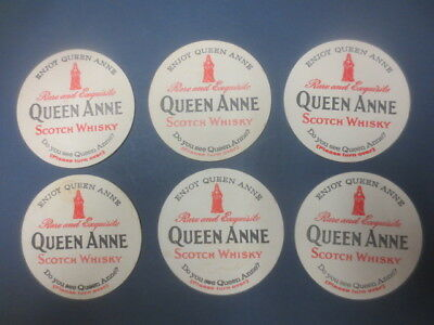 6 x  QUEEN ANNE SCOTCH WHISKY Coasters 1970,s  Australian  Issue Round