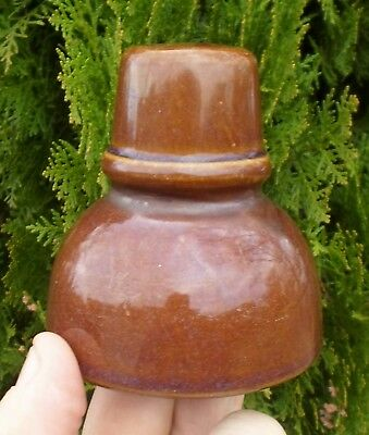 Rare 1930s Dark Brown Glazed Clay or Ceramic Eletrical Insulator Country Vic GC!