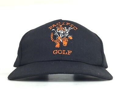 Pacific Tigers Golf Black Baseball Cap Hat Leather Strapback Men s Made In  USA 2d04fde0c5a