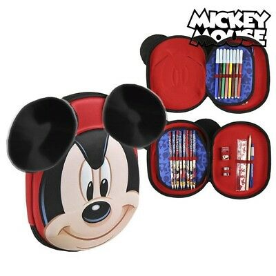 Pochette à crayons triple Mickey Mouse 8393 Rouge