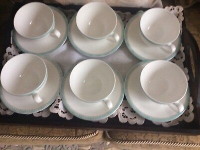 6 Denby Jewel bone china tea cups and saucers