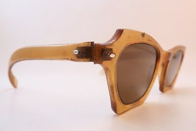 Vintage 30s sunglasses brown glass lenses mens small/medium SUPERB
