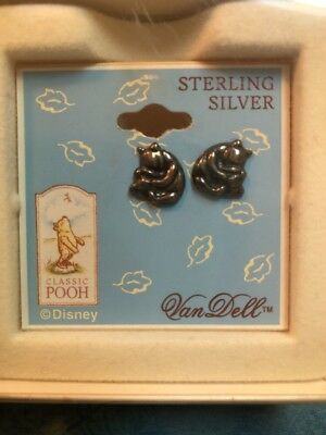 Classic Winnie The Pooh  Sterling Silver Earrings By Van Dell