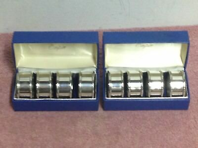 Four (4) Each Vintage Bloomingdales Empire Pewter Napkin Rings  Blue Box