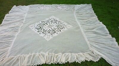 "Antique Battenberg net lace bed Spread. Perfect Condition 94"" wide 105"" long Pal"