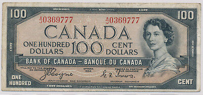 Bank Of Canada Devils Face 100 Dollars 1954 A/j0369777 - Fn