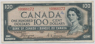 Bank Of Canada Devils Face 100 Dollars 1954 A/j0966172 - F