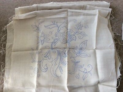 Vintage 1940's Irish linen 8 cushion covers  transfer to hand embroider