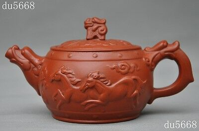 """4""""Old Chinese Yixing Zisha Pottery Carved Dragon Horse""""龙马""""statue teapot tea set"""